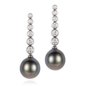 Diamond and Tahitian Pearl Drop Earrings