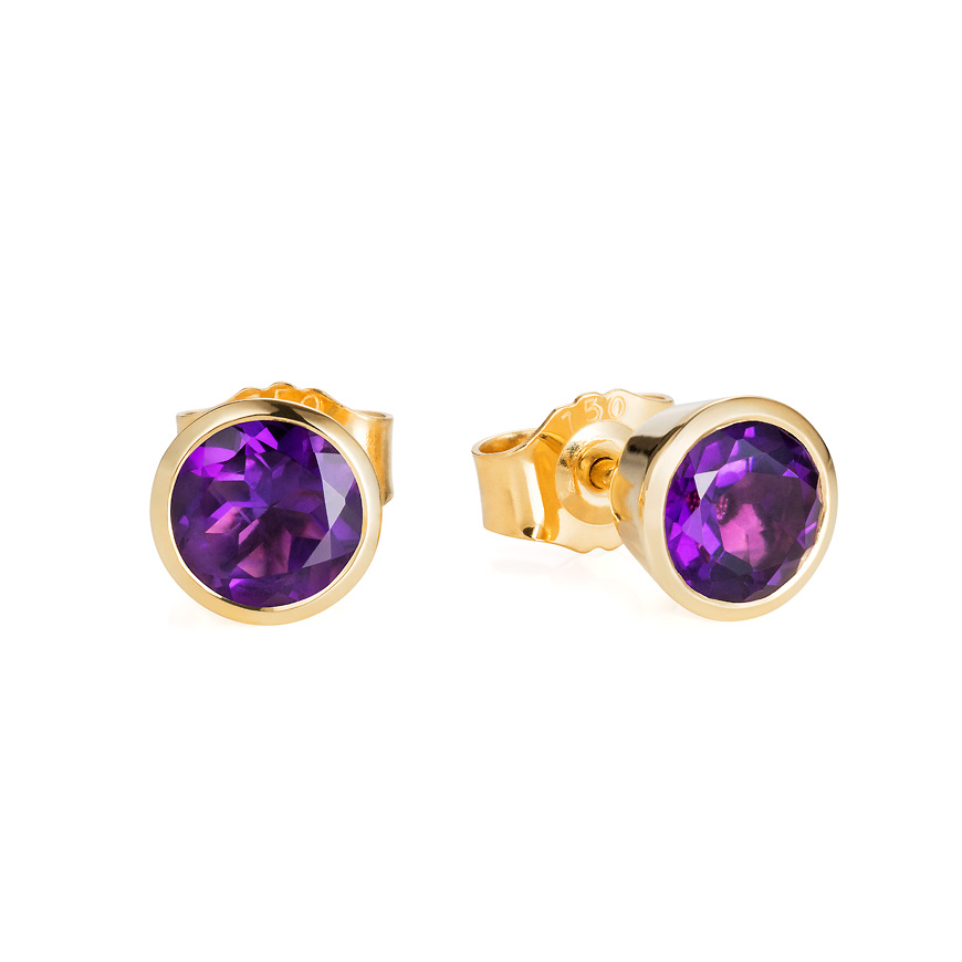 Amethyst and Yellow Gold studs