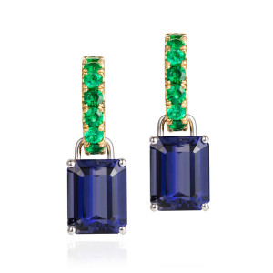 Emerald hoops and Iolite drop earrings