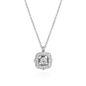 white gold and diamond flo pendant