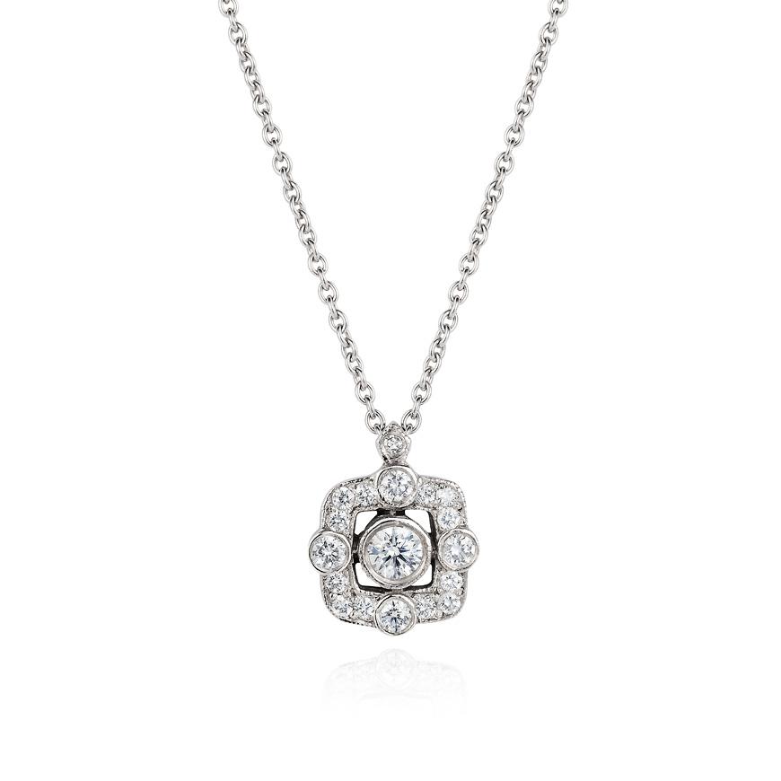 white gold and diamond flo pendant