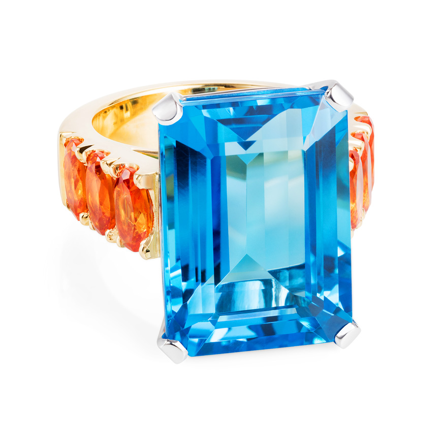 Blue Topaz and Spessartite Garnet Ring