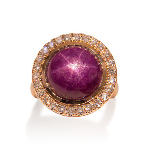 Star Ruby and Diamond Ring