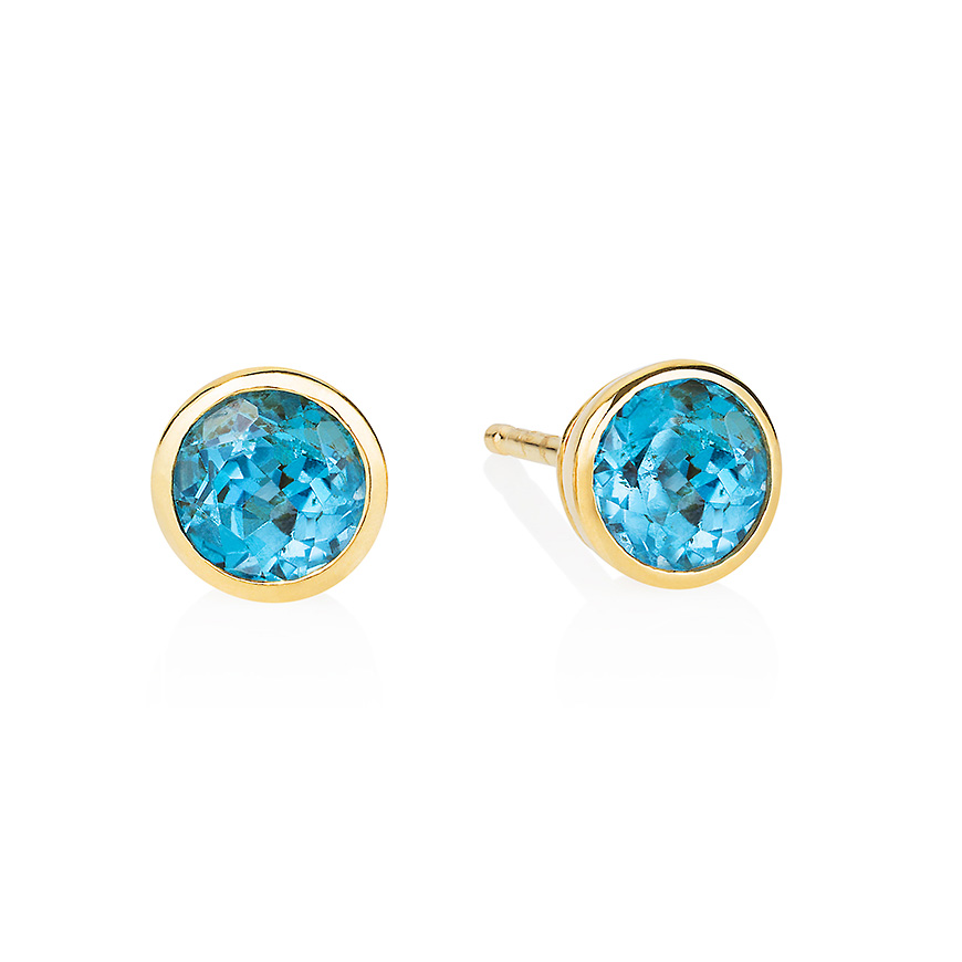 Blue Topaz and Yellow Gold studs