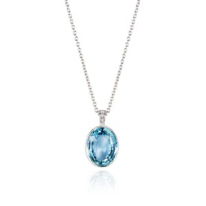 Aquamarine and Diamond Pendant