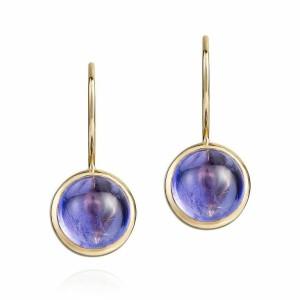 cabochon tanzanite drop earrings