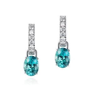 Diamond hoops with blue zircon drops