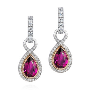 Diamond hoops and Rubellite drops