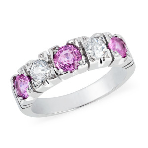 hot pink sapphire and diamond eternity ring