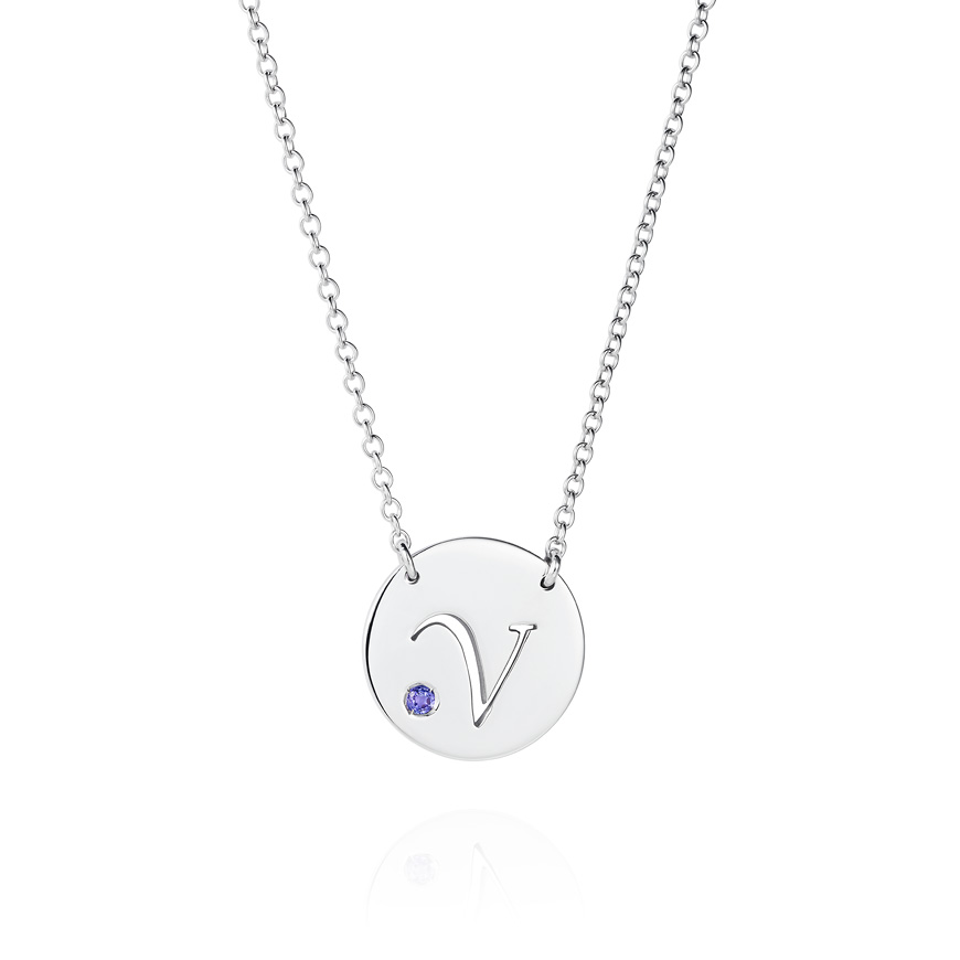 white gold and tanzanite disc necklace