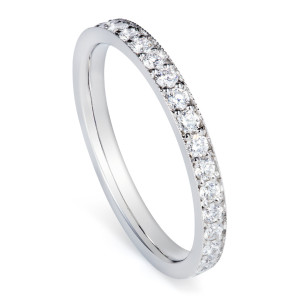 Diamond and platinum wedding band