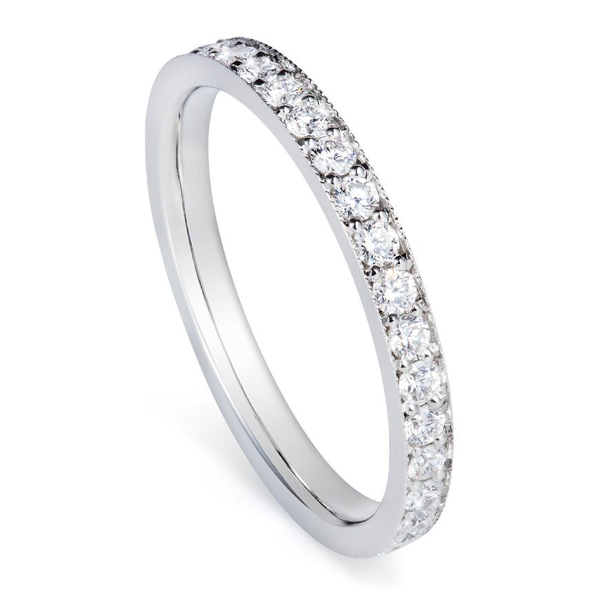 Diamond and platinum wedding band