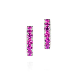 Pink sapphire and white gold hoops