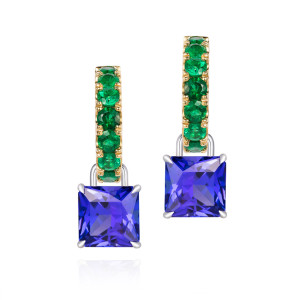 Emerald hoops with Tanzanite drops