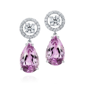 Diamond and Kunzite drop earrings