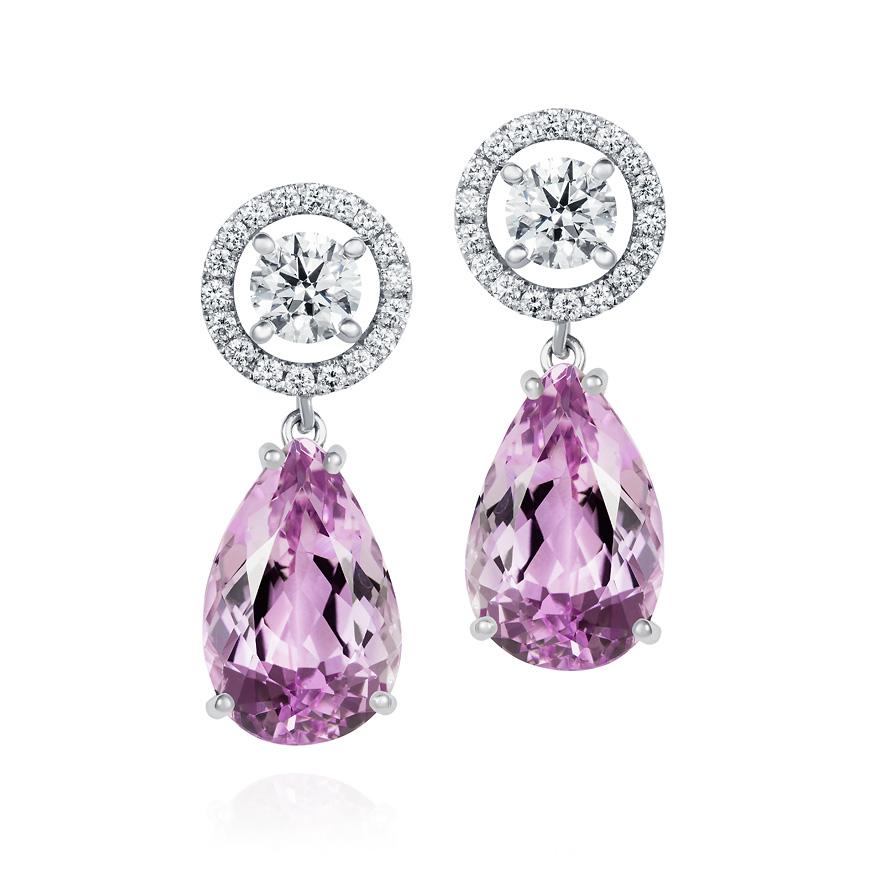 Diamond and Kunzite drop earrings