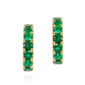 Emerald hoops in yellow gold
