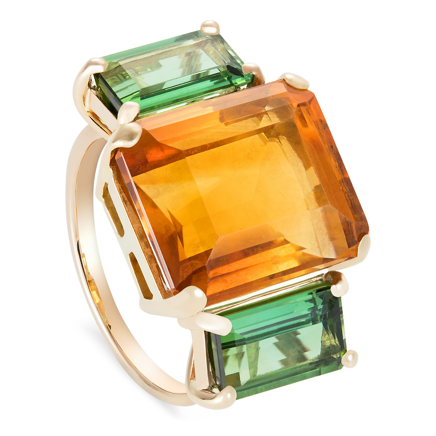citrine and tourmaline ring