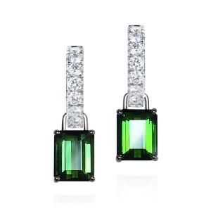 tourmaline drops with diamond hoops