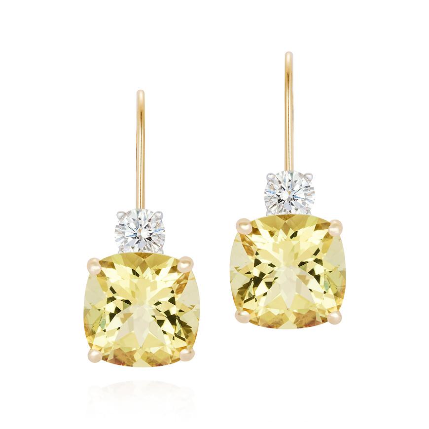yellow beryl and diamond earrings