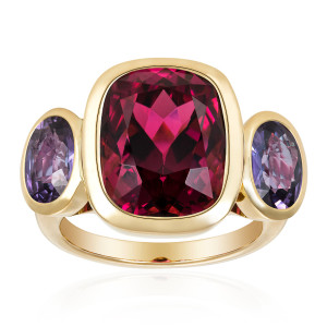 rubellite and purple sapphire ring