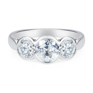 old-cut diamond and platinum ring