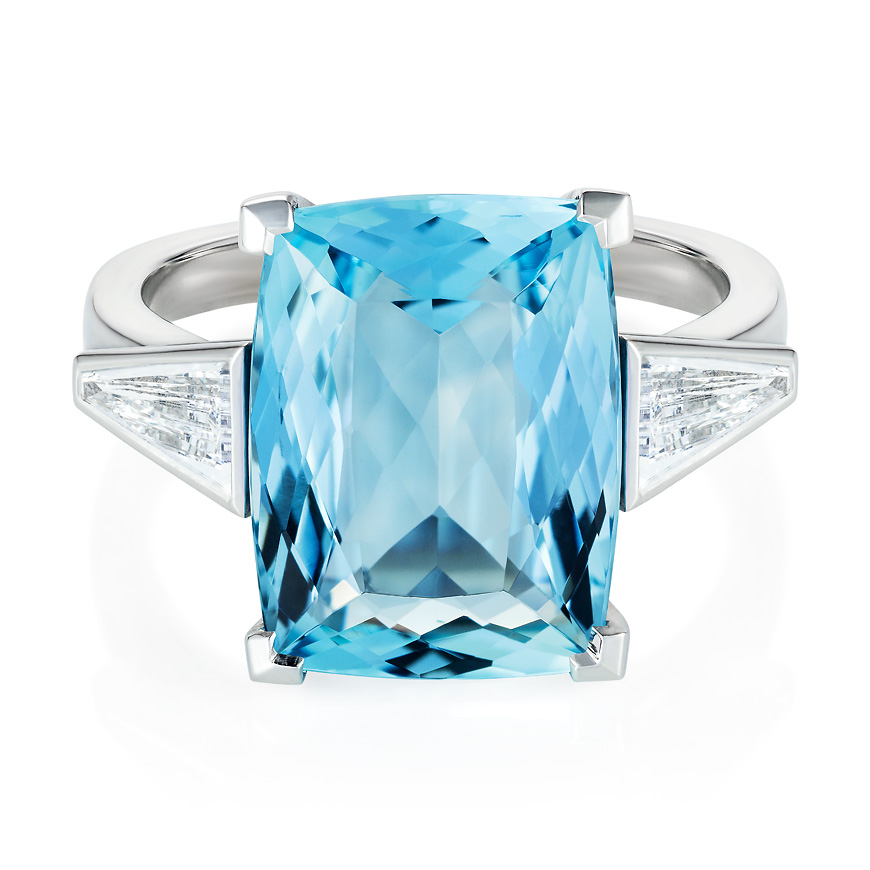Aquamarine and tapered diamond ring
