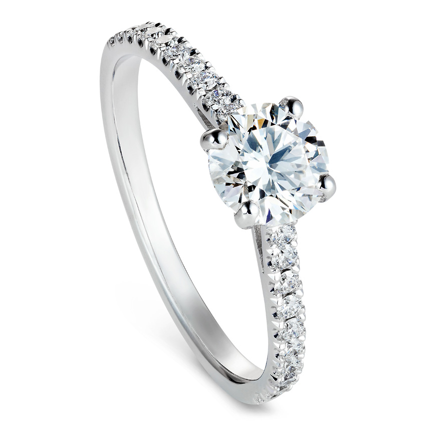 Brilliant cut solitaire ring with diamond band