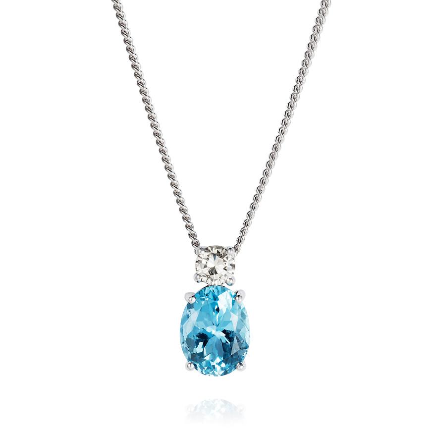 aquamarine and diamond white gold pendant
