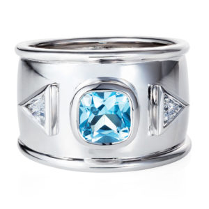 Blue Topaz and trillion cut diamond ring