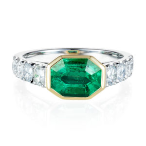Octagonal emerald and diamond ring