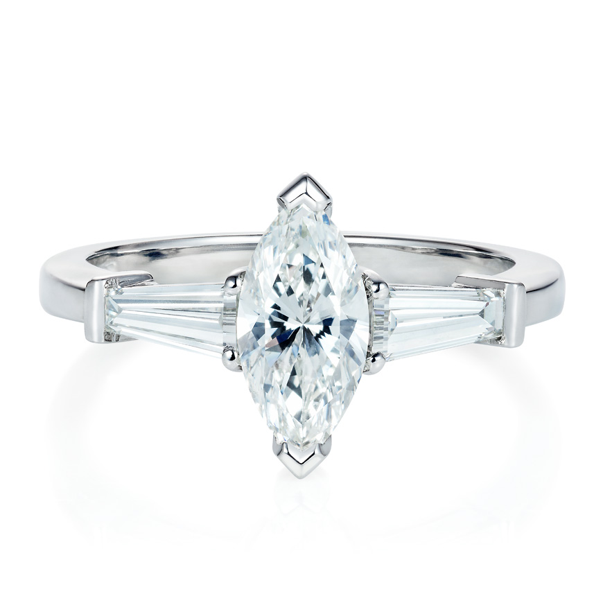 marquise diamond and platinum ring