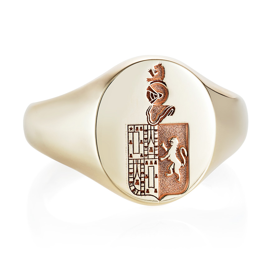 9ct yellow gold debossed signet ring