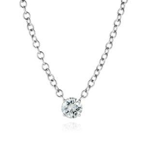 solitaire diamond pendant link necklace