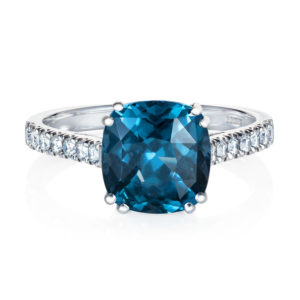 blue spinel and diamond solitaire ring